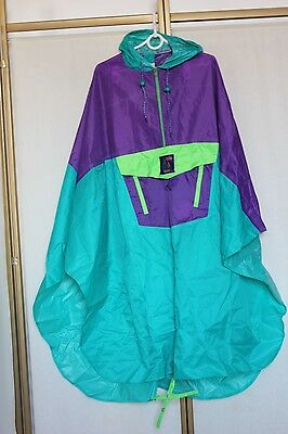 Vintage 80s 90s Rain Cape Poncho Nylon Shell Jacket Coat