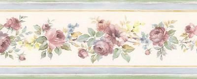 Wallpaper Border Mini Victorian Watercolor Rose Floral with Blue Edges