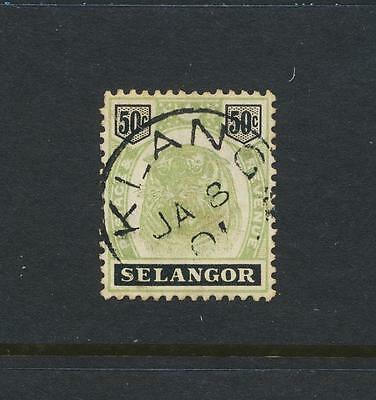 MALAYA - SELANGOR 1898, 50c GREEN & BLACK VF USED SG#60 CAT$165+/- (SEE BELOW)