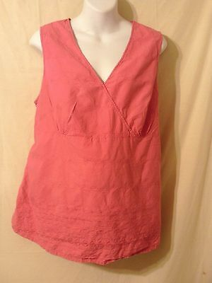 Maternity Announcements Pink Floral 100% Cotton Sleeveless Casual Top Blouse XL
