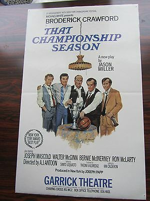 Small London Theatre Poster 1970s That Championship Season Broderick Crawford
