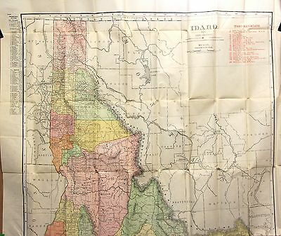 1911 Rand McNally Vest Pocket Map of Idaho– Full Color, Unfolds to 20 x 28""