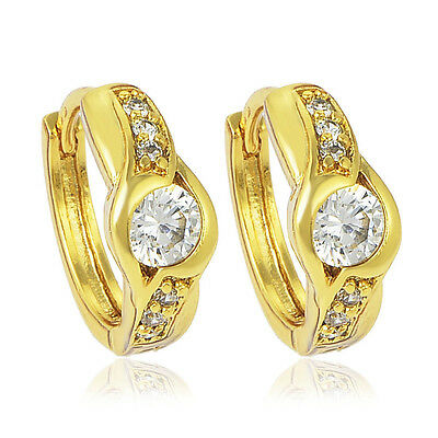 Infant childrens kids safety hoop earrings round crystal 14K Yellow gold filled