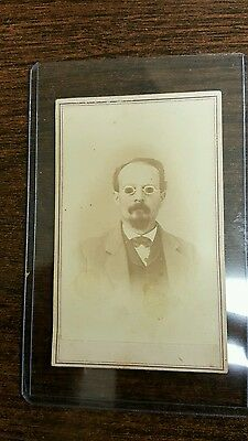Civil War Era Id'd CDV Image John Dasher with Dark Glasses Soldier?