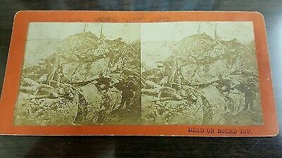 Civil War Gettysburg Battlefield Mumpher Soldiers Posing as Dead Stereoview