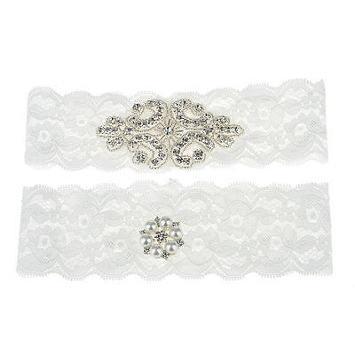 Wedding Handmade White Bridal Elasticated Garter Lace Pearl Elegant Ribbon AB