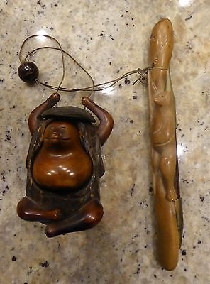 Vintage Carved Inro, Ojime And Pipe Holder Netsuke