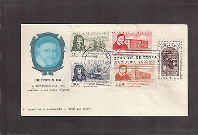 Costa Rica 1960 First Day Cover, # C298/302 St. Vincent De Paul !!