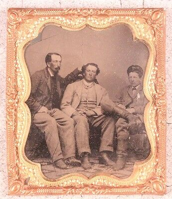 Tintype - 3 Men Seating - Father & Sons ??