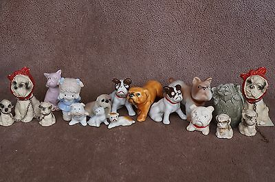 VTG Bone China/Ceramic BULLDOG Dog Lot Miniature Toothache RUSS Doggoyles