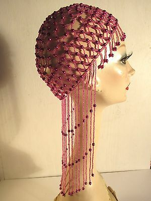 Vintage 1920's Fuchsia Flapper Style Handcrafted Glass Beaded Hat
