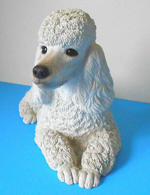 "Realistic WHITE puppy FRENCH POODLE Dog FIGURINE~Sandicast~10"" statue"
