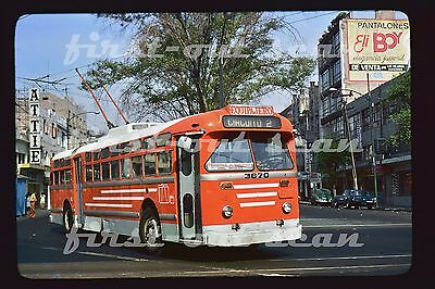 Z Original Slide - STE Mexico 3670 Trackless Trolley Bus INsurgentes April 1977