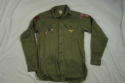 Vtg 50s Boy Scouts of America Missoula Montana Mens Sanforized Shirt Patches
