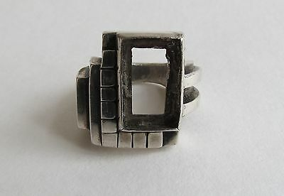 Large heavy sterling silver art deco cubist modernist retro ring size 10 n stone