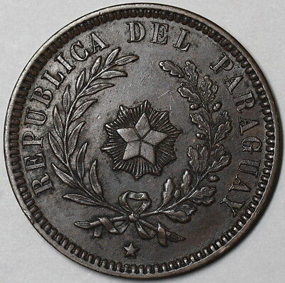 1870 PARAGUAY Large Copper 2 Centesimos 1 Year Type HEATON Mint Coin (16012801S)