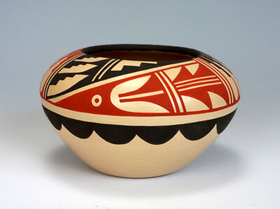Jemez Pueblo Native American Indian Pottery Polychrome Bowl Pauline Romero