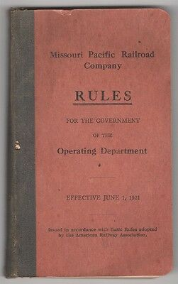 Railroad Train Manual:  MoPac Rules for Government, Operating Department - 1921