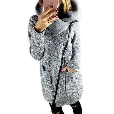 Sale Womens Casual Hooded Jacket Coat Long Zipper Sweatshirt Outwear Tops Gray S