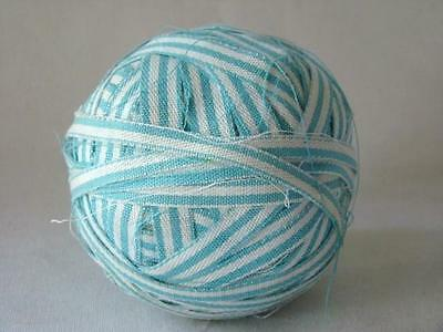 AUTHENTIC Old Primitive Blue Striped Cotton Fabric RAG BALL, AMERICAN