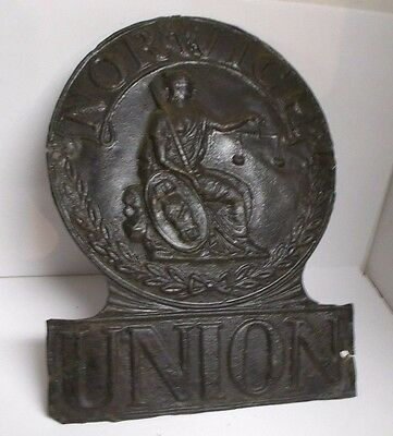 Antique Tin Embossed British Northwich Union Fire Insurance Mark Sign