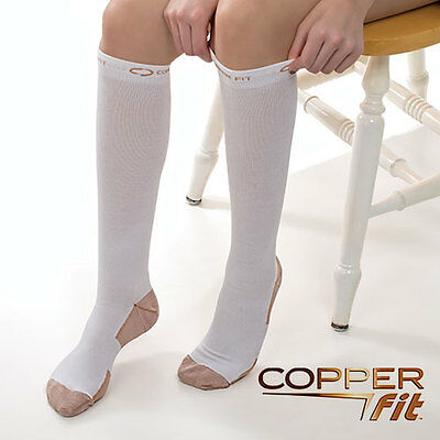 2 Pairs of White Copper Fit Compression Socks - Size: Small/Medium