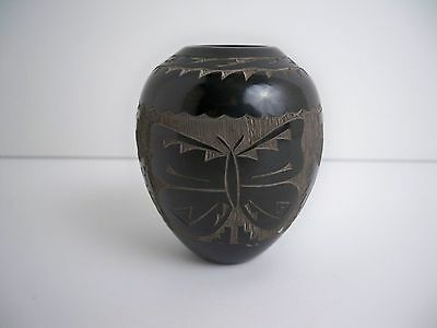 Santa Clara Pueblo Indian Pottery Etched Miniature Vase - Monica Naranjo Romero