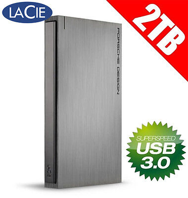 LaCie Porsche Design Mobile Drive 2TB USB 3.0 Portable Hard Drive External HDD