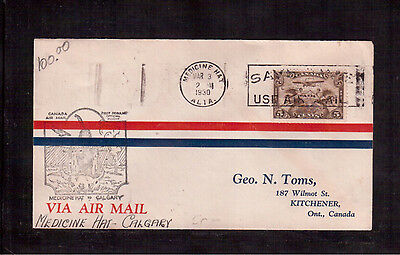 Canada # C1 On 1930 First Flight Cover Medecine Hat To Calgary !!