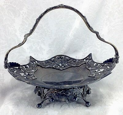 Pairpoint Oak Acorn Branches Bride's Basket Silverplate Antique Vintage