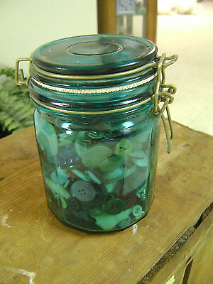 Jar of Mixed Vintage Sewing Buttons.