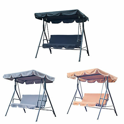 Metal 3 Seater Outdoor Swing Chair Lounger with Frame and Canopy Garden Hammock