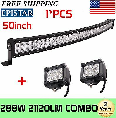 288W 50Inch Led Curved Light Bar Combo Work Driving Offroad Lamp+2X4'' 18W Flood