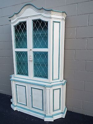 Vintage Baker furniture Co. Painted French Painted Display Cabinet Curio Hutch
