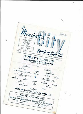 Manchester City Reserves v West Bromwich Albion Reserves 27/3/1959
