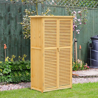 "34""x18""x63"" Patio Storage Shed Garden Wood Cabinet Yard Storage Box w/ Two Doors"