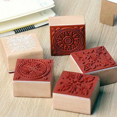 NEW 6 Assorted Wooden Stamp Rubber Seal Square Handwriting DIY Craft Flower Lace