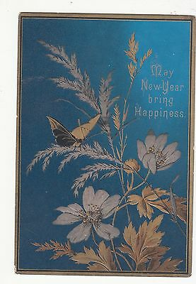 May New Year Bring Happiness Butterfly Blue Gold Embossed Vict Card c 1880s