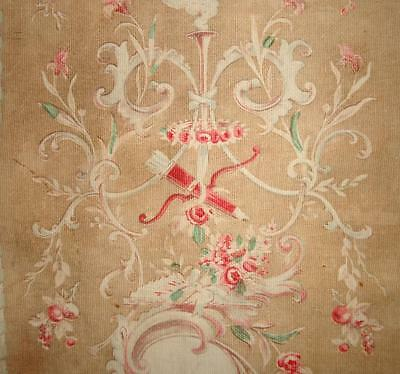 BEAUTIFUL PIECE GENTLY FADED 19th CENTURY FRENCH ROCOCO TOILE ,BIRDS PROJECTS 5.