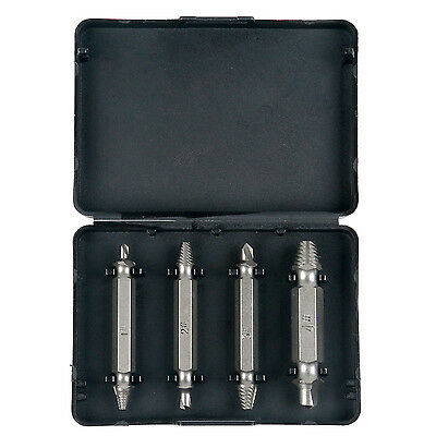 4 Piece Damaged Stripped Screw Bolt Extractor Remover Dual End Drill Bit Set -