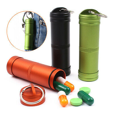Waterproof Aluminum Pill Box Case Bottle Holder Container Keyring 3 Colors