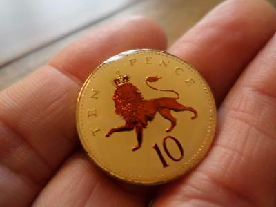 VINTAGE ENAMELLED TEN PENCE COIN 1992. 25th BIRTHDAY PRESENT OR LUCKY CHARM
