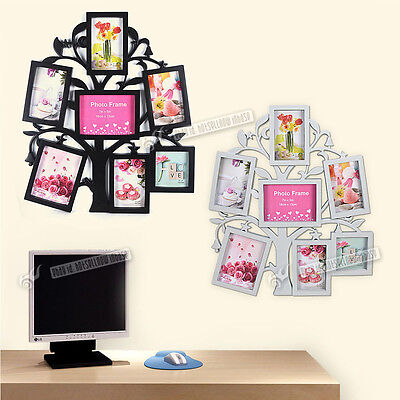 NEW 7 Piece Family Tree Wall Photo Frame Set Picture Collage Home Decor Art Gift