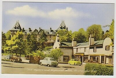 Ross & Cromarty postcard - The Square & Highland Hotel, Strathpeffer-Spa - RP