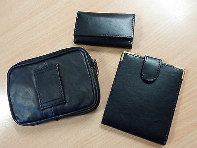 3 Piece Set - Black Leather Wallet, Key Case And Belt Bag