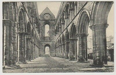 Roxburghshire postcard - The Nave looking West, Jedburgh Abbey