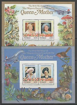 TUVALU 1986 QUEEN MOTHER'S 85th BIRTHDAY M/S x2 MNH
