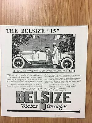 RARE 1919 BELSIZE 4 Seater Small B&W Vintage Car Advert