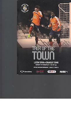 PROGRAMME - LUTON TOWN v CRAWLEY TOWN - 11 FEBRUARY 2017