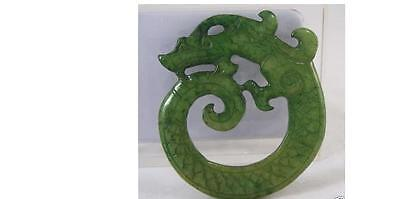 Chinese Old Handwork Green Jade Carved Dragon Pendant20